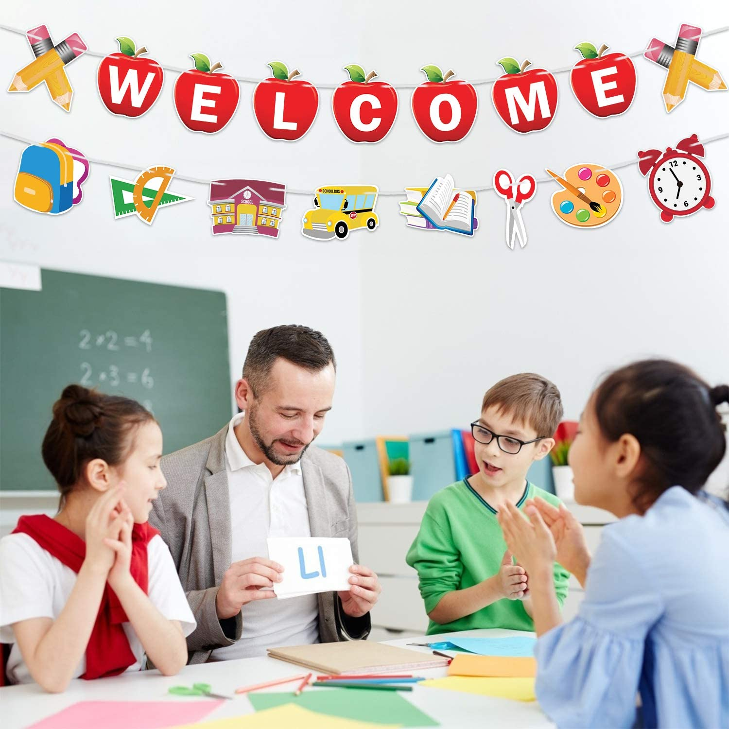 Back to School Decorations Party Supplies Welcome First Day of School Classroom Office Hanging Decor Welcome Garland Banner Welcome Banner Decorations