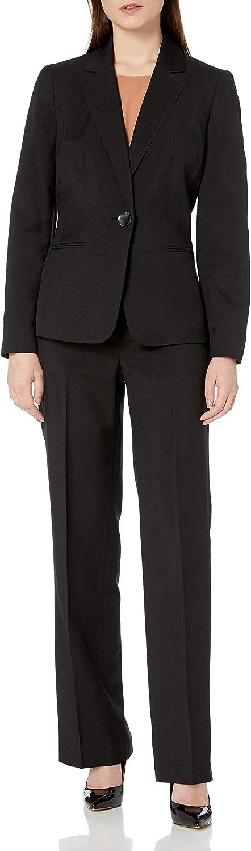 Le Suit Women's 1 Button Glazed Melange Pant Suit