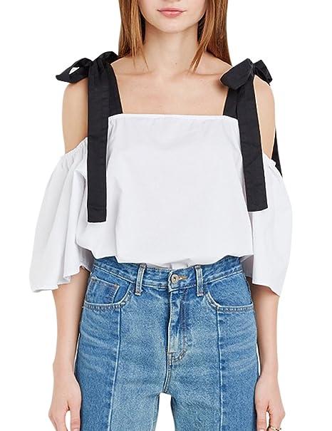 Zantec Blusa de moda, Camisa con con tirantes de forma nudo de mariposa, manga corta Bowknot Braces suelta la camiseta: Amazon.es: Ropa y accesorios