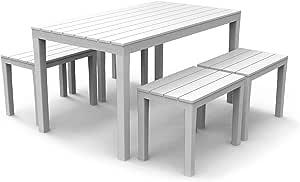 PRO GARDEN Conjunto de Muebles de jardín de plástico Samoa Bianco en imitación de Madera, IPAE Progarden, Fabricado en Europa: Amazon.es: Jardín