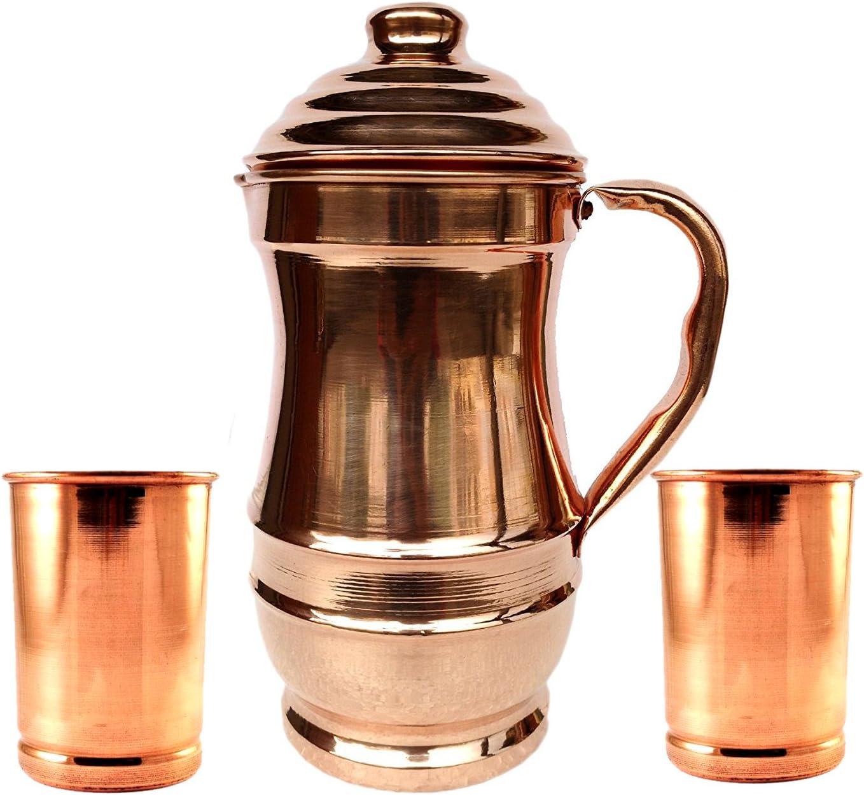 Rastogi Handicrafts Pure Copper Jug With 2 Glass Drink ware set Pitcher Tumbler