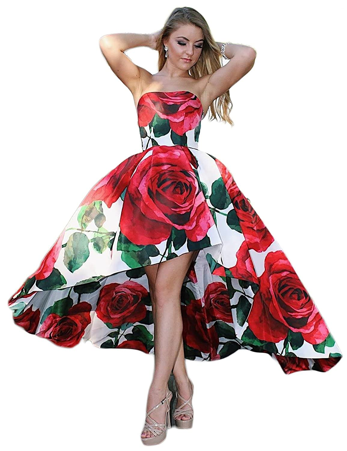 9ce8a94e7cb Women s Off Shoulder Floral Prom Homecoming Dresses Long 2018 Two Pieces  Evening Gown Style a   two pieces