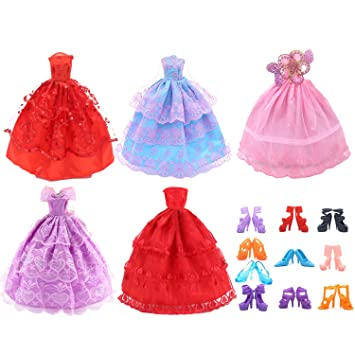 Amazon.com: Gosear 5 PCS Fairy Girl Dolls Toys Wedding Party Lace Dresses Gown Outfits Doll + 10 Pair Shoes Set Accessories for Barbie Toys Children Girls ...