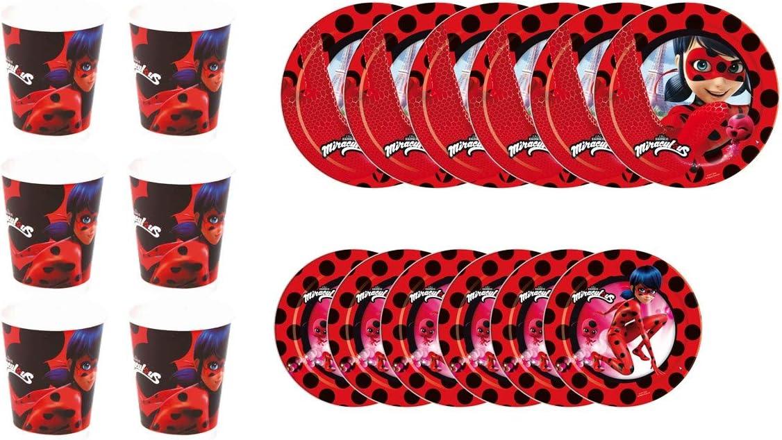 ALMACENESADAN 1100, Pack Desechables Fiestas y cumpleaños Basic Lady Bug, Compuesto por 6 Vasos, 6 Platos 18 cm y 6 Platos 23 cm