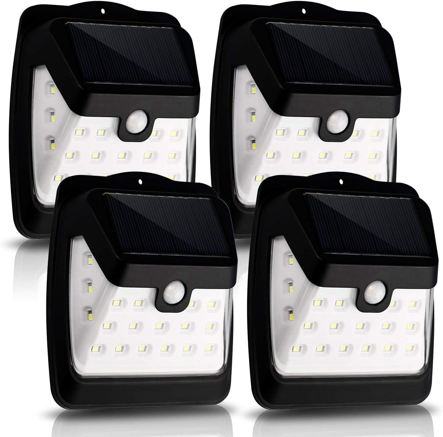 CANAGER Solar Lights Outdoor,Wireless Motion Sensor Lights, 21 LED Waterproof Wall Lights for Front Door,Garage,Patio,Yard,Garden(4 Packs) … …