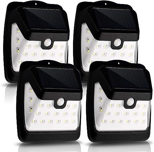 CANAGER Solar Lights Outdoor,Wireless Motion Sensor Lights, 21 LED Waterproof Wall Lights for Front Door,Garage,Patio,Yard,Garden 4 Packs