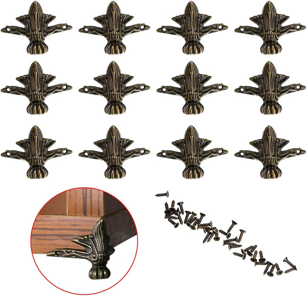 OwnMy 12 PCS Antique Brass Jewelry Box Feet Leg Wood Case Corner Protector Decorative Furniture Legs for DIY Jewelry Chest Gift Box Wood Box (4 Leaves - S)