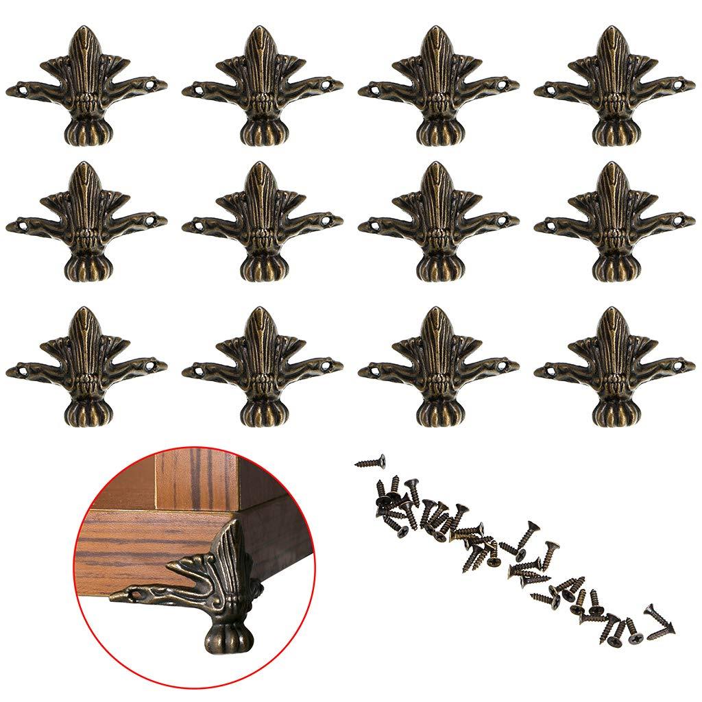 12 unidades Sumnacon Protectores de esquina para patas de metal vintage