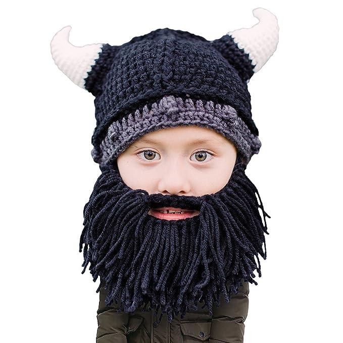 72061df3 Beard Head Kid Viking Beard Beanie - Horned Hat and Fake Beard for Kids  Toddlers