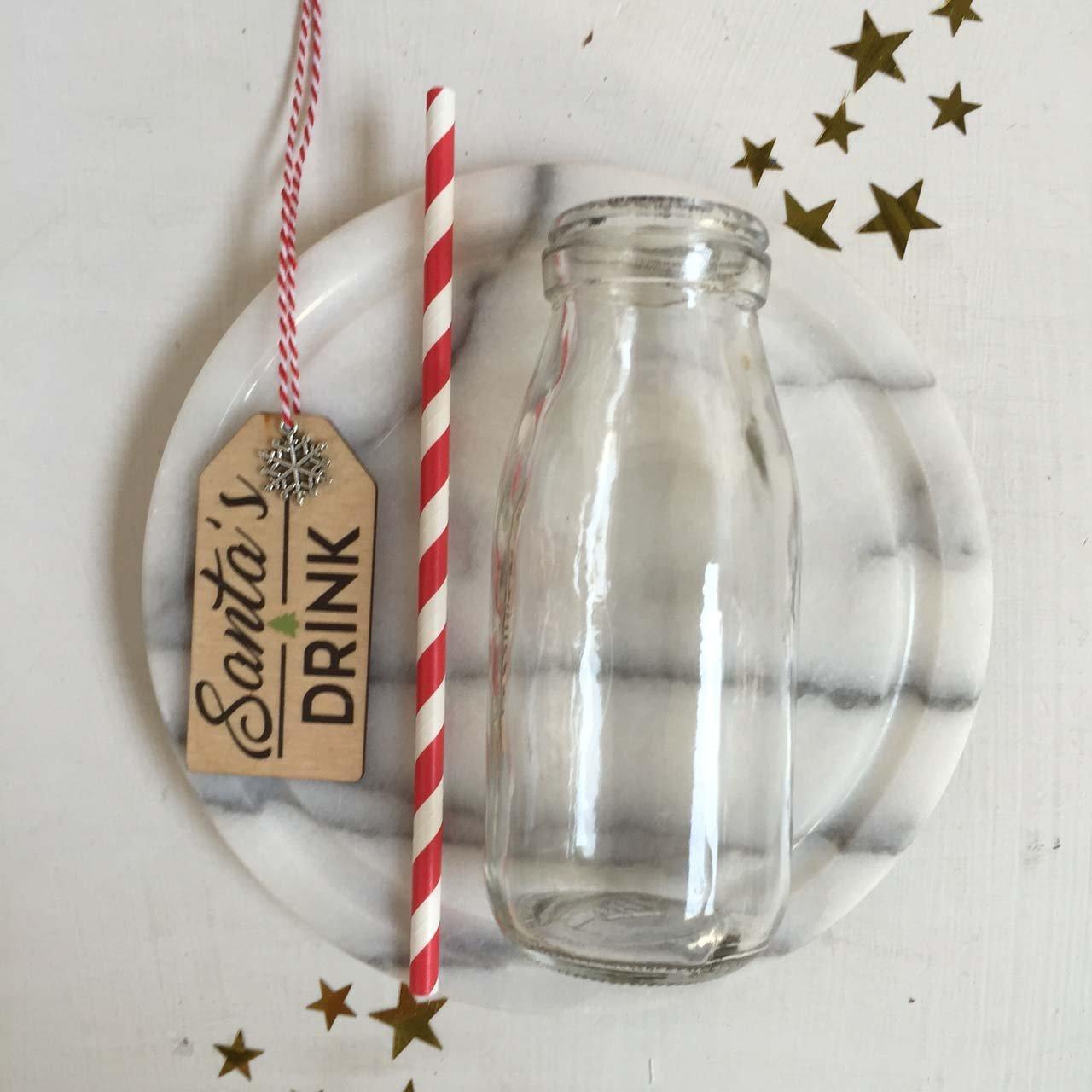 Cinammon Bay - Botella de leche tradicional de Nochebuena con la inscripción «Santas Drink»: Amazon.es: Hogar
