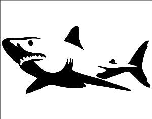 "Shark (BLACK) - 8-3/4"" x 3-1/2"" - Vinyl Die Cut Decal/ Bumper Sticker For Windows, Cars, Trucks, Laptops, Etc."