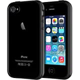 JETech Case for iPhone 4 and iPhone 4s Shock-Absorption Bumper Cover Anti-Scratch Clear Back (Black)