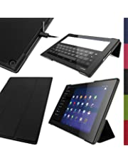 "iGadgitz Premium Black PU Leather Smart Cover Case for Sony Xperia Z2 Tablet SGP511 10.1"" with Auto Sleep/Wake + Multi-Angle Viewing Stand + Screen Protector"