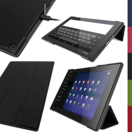 igadgitz u2899 – Eco Leder für Sony Xperia Z2 10.1 Tablet SGP511 SGP521 SGP512 mit/Schlaffunktion und Displayschutzfolie, Sch