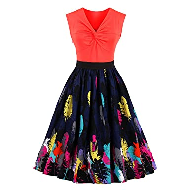 Robin Santiago Plus Size Women Dress Summer Print Retro Casual Party Robe Pinup Rockabilly 50S Vintage