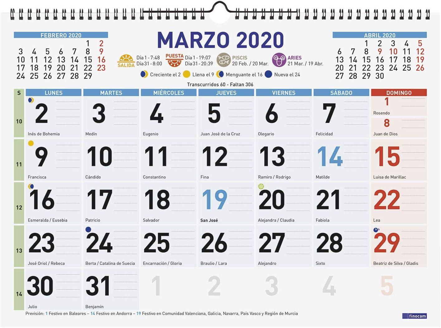 Finocam - Calendario de pared 2020 Color Mixto catalán: Amazon.es ...