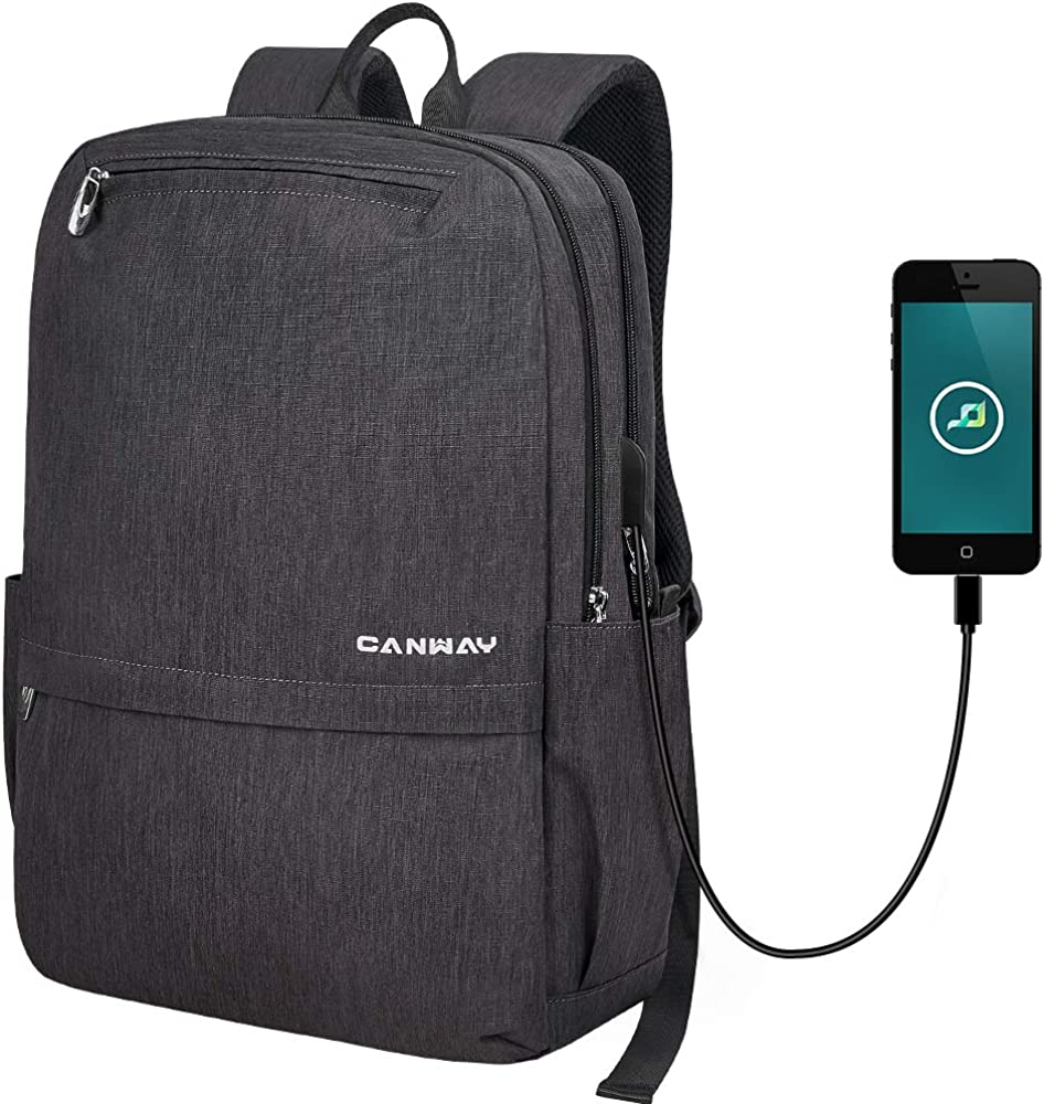 CANWAY Travel Laptop Backpack for Men and Women with USB Charging Port, Anti Theft Slim Business backpack/Computer Bag/College School Bag Backpack Fits 15.6 Inch Laptop and MacBook