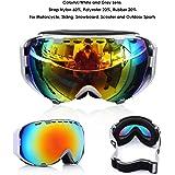 AUDEW Maschere di Protezione da sci e Snowboard UV400Doppia Lente sferica, per Moto, Inverno, Sport all'aria aperta