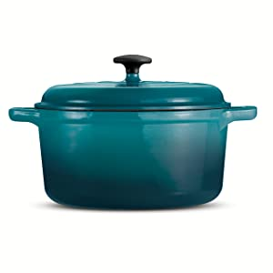 Tramontina 80131/631DS Style Enameled Cast Iron Covered Round Dutch Oven, 6.5-Quart, Teal