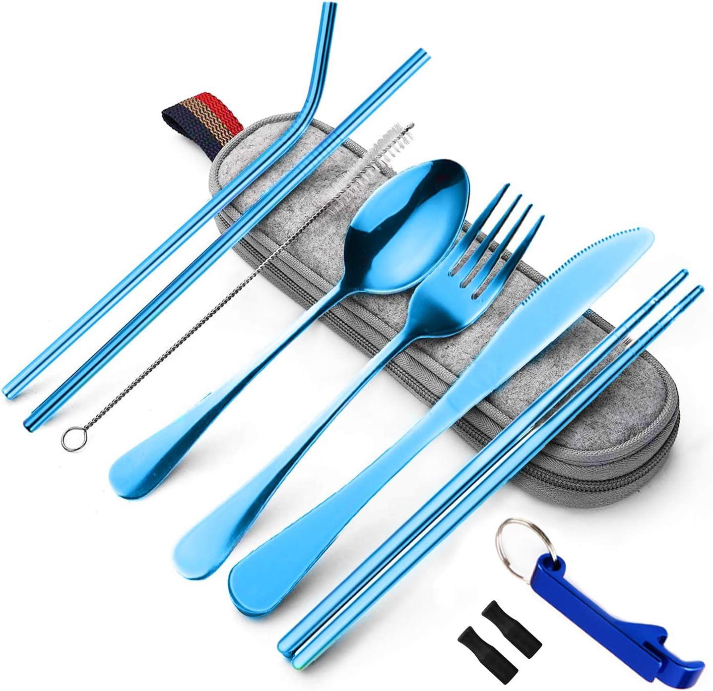 Moyad - Juego de cubiertos de 9 piezas, acero inoxidable, juego de mesa con funda, juego de viaje portátil para camping, picnic, casa, cocina
