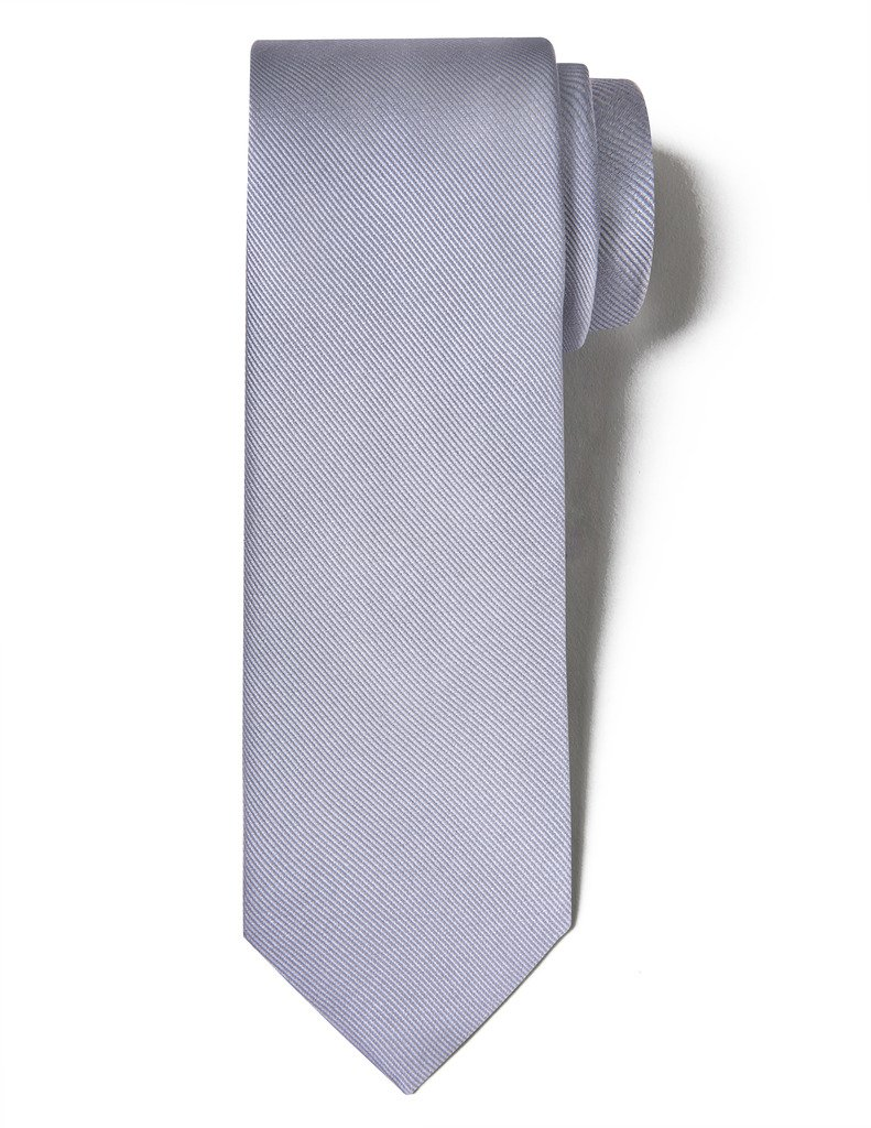 Origin Ties Men's 100% Handmade 3'' Silk Fashion Solid Diagonal Striped Wedding Tie Grey