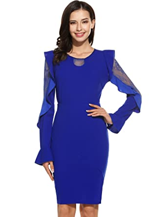 940ffcc6 SummerRio Women 1950's Retro Bell Sleeve Cocktail Party Evening Dress Work  Pencil Dress(Blue,