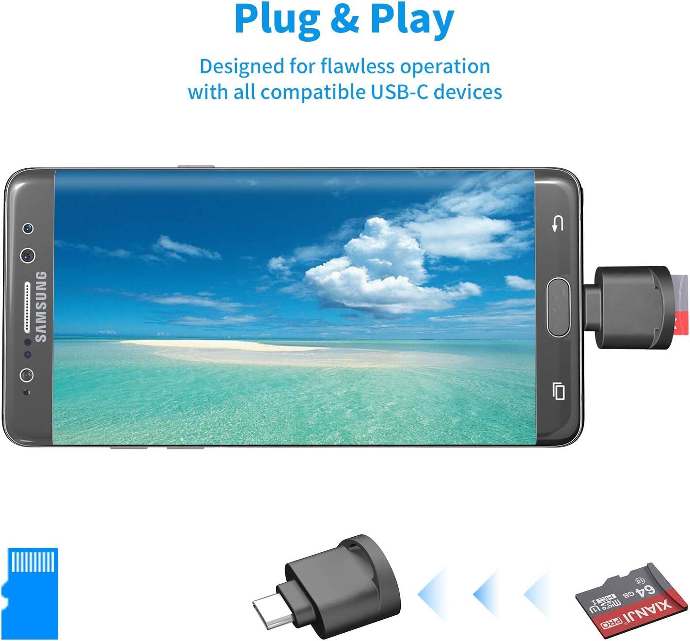 Plug and Play Kamera Speicherkartenleser f/ür Micro SD Karte//TF Karte Micro SD Kartenleser USB C Schwarz Typ-C Speicherkarte USB Adapter f/ür Micro SD//MicroSDHC//MicroSDXC,mit OTG-Funktion