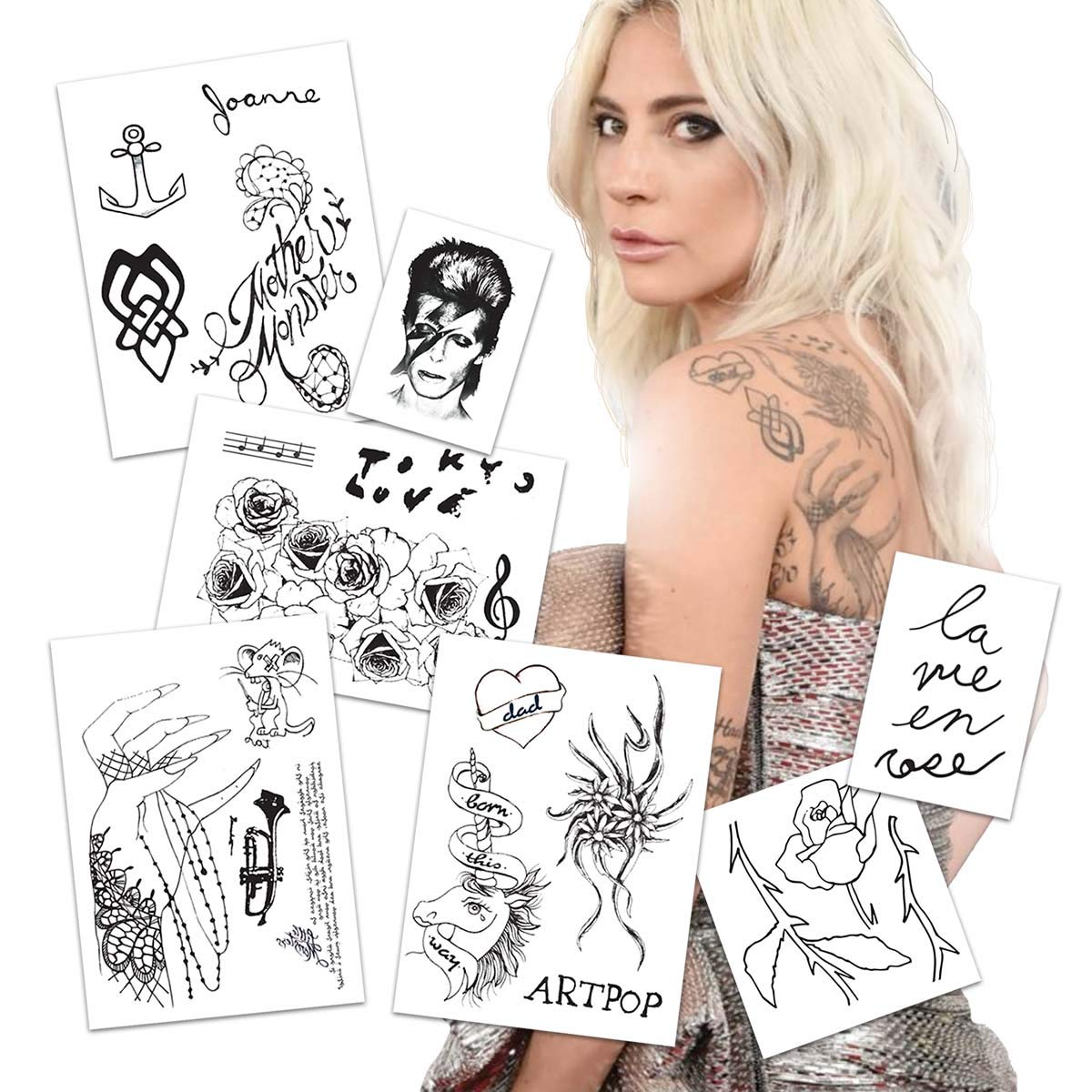 Lady Gaga Life Size Temporary Tattoos 2019 Mega Pack   Skin Safe   MADE IN THE USA  Removable