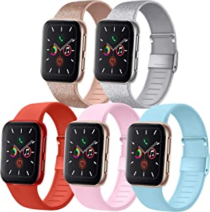 [Pack 5] Compatible with Apple Watch Bands 44mm 42mm for iWatch Series 6 5 4 3 2 1 SE, Glitter Rose Gold/Glitter Silver/Orange Red/Baby Blue/Pink, 42mm/44mm M/L