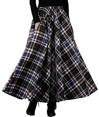 a1185966b6 Femirah Women's Blue Red Plaid Winter Warm Wool Skirt Long Maxi Skirt  (Length 80cm/