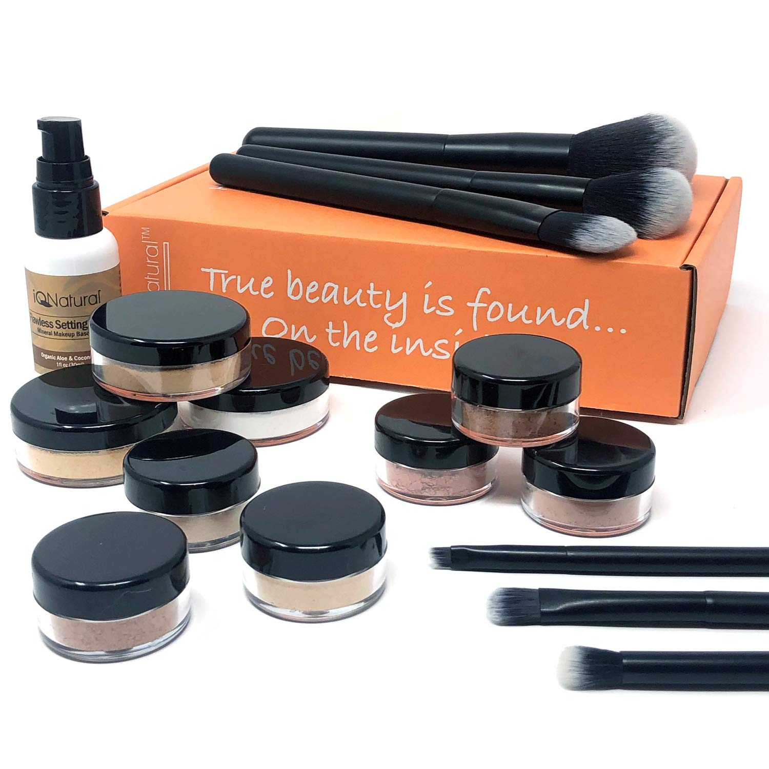 Premium 16 Piece Large Mineral Makeup Kit (Select Shade) - Concealer, Bronzer, Eye Shadow, Setting Powder, 2 Full Size Mineral Foundation, Primer - Create A Natural Flawless Look by iQ Natural