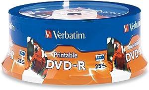 Verbatim DVD-R 4.7GB 16X White Inkjet Printable with Branded Hub, 25-Disc