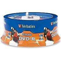 Verbatim DVD-R 4.7GB 16X White Inkjet Printable, Hub Printable - 25pk Spindle