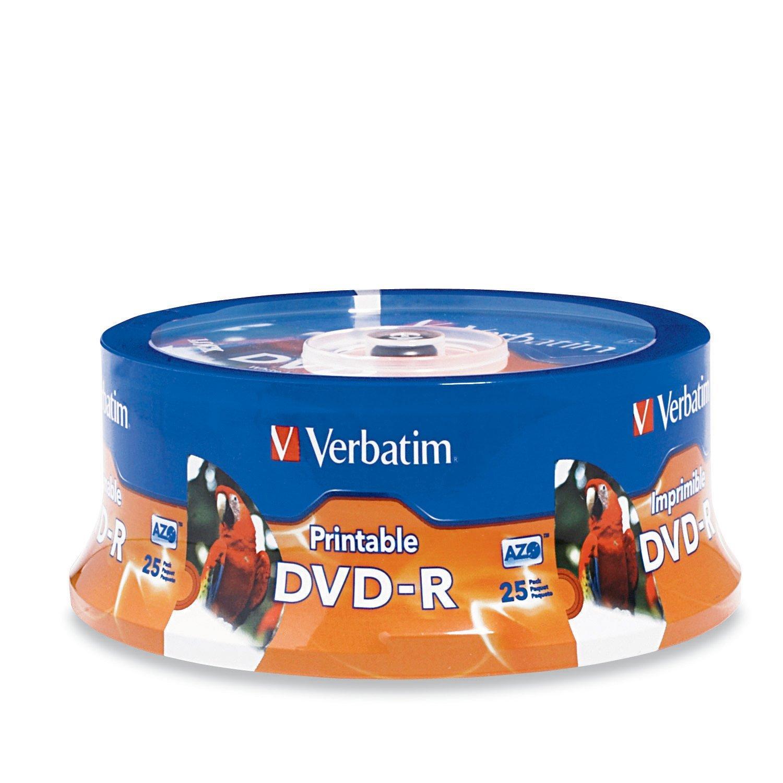 Verbatim 4.7GB up to 16x White Inkjet PrintableHub Printable Recordable Disc DVD-R (25-Disc Spindle) 96191