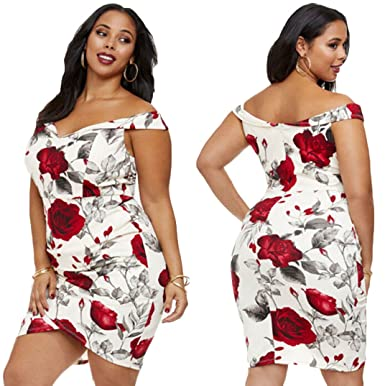90e6f6926b7 Tomblin Women s Plus Size Floral Print Off Shoulder Bodycon Cocktail Party  Club Evening Fitted Mini Dress