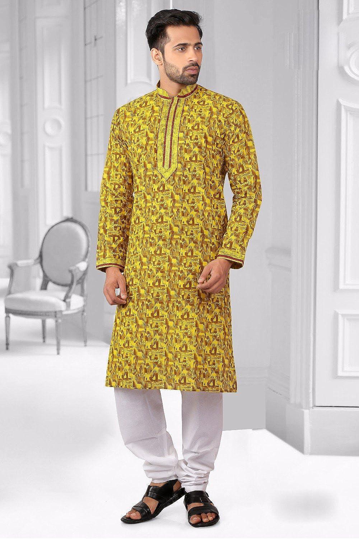 57f0759739 Amazon.com: Da Facioun Emerald Yellow Kurta for Men - Mens Indian Fashions  - Cotton KES-4493: Clothing