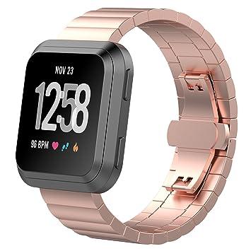 TopTen - Correa de Repuesto para Reloj de Pulsera Deportivo Fitbit Versa Health and Fitness Smartwatch de Acero Inoxidable