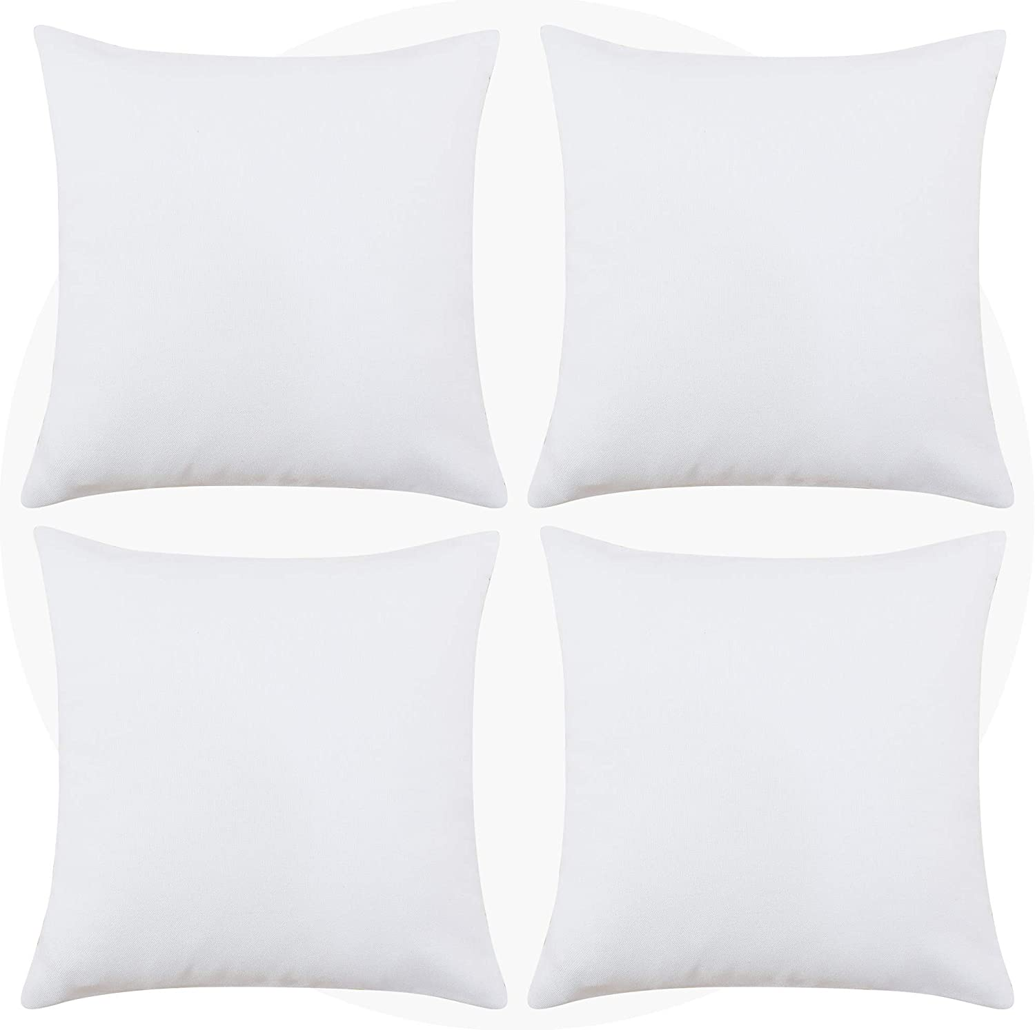 Deconovo Decorative Pillow Covers White Throw Cushion Covers Faux Linen Pillowcase for Living Room Throw Pillow 24 x 24 Inch Off White Set of 4 No Pillow Insert