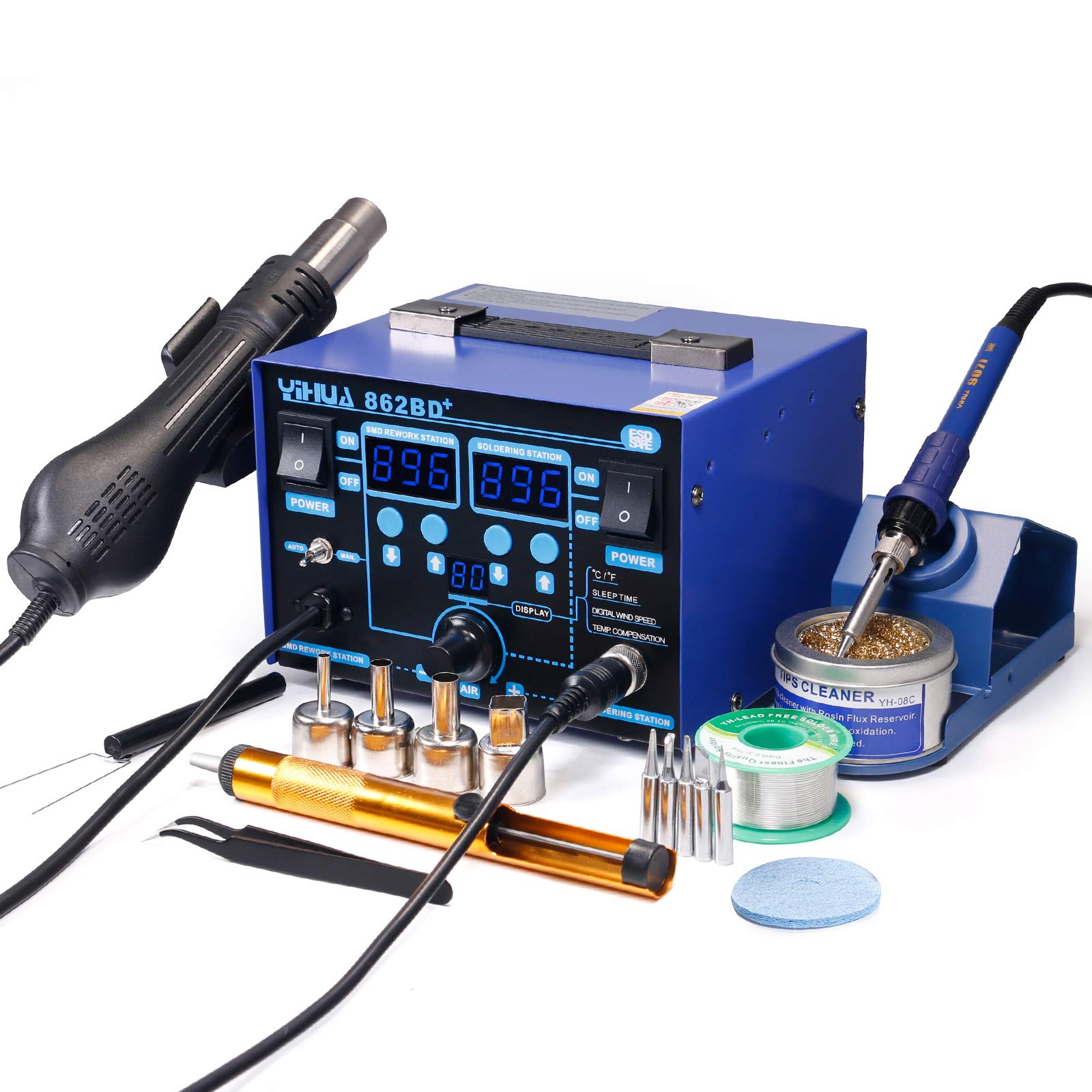YIHUA 862BD+ SMD ESD Safe 2 in 1 Soldering Iron Hot Air Rework Station °F /°C with Multiple Functions by YIHUA