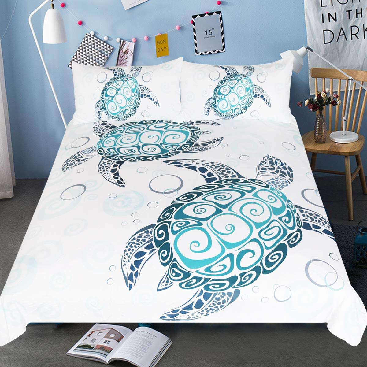 Sleepwish Turtle Bedding Royal Aqua Blue Turtles Duvet Cover 3 Piece Abstract Tortoise Bed Covers Underwater Children Bed Set (Queen)