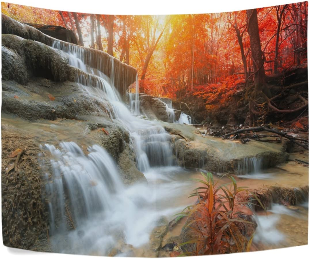 Amazon Com Beautiful Landscape Waterfall In Autumn Forest Natural Life Polyester House Tapestries Room Décor 90x60 Inch Style Decorative Wall Blanket Home Kitchen