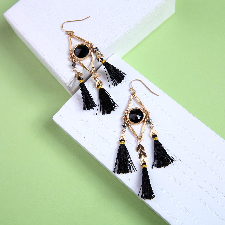 Miss Kiss Bohemia Style Black Tassel Gold Arrow Resin Chandelier Earrings ed00240c
