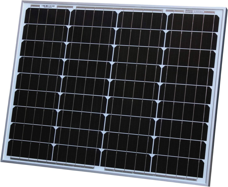 Panel solar monocristalino de 50 W Photonic Universe, con 5 m de cable solar, ideal para recargar batería de 12 V en una autocaravana, caravana, caravana o barco o para un sistema