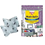 Zero In Moth Balls (New Generation Clothes Moth Balls, Kills Moths, Larvae and Eggs in Wardrobes, Effective for up to 3 Months) - Pack of 10