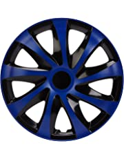 NRM ko250 Tapacubos Draco CS, Negro/Azul, 14 Pulgadas, Juego de 4