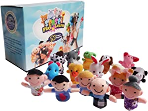 Sensei Play 'n' Learn Finger Family Puppets - People & Animals - 16 pcs - Finger Puppets Zoo Animals & Family Puppets For Kids, Babies, Toddlers & The Whole Family
