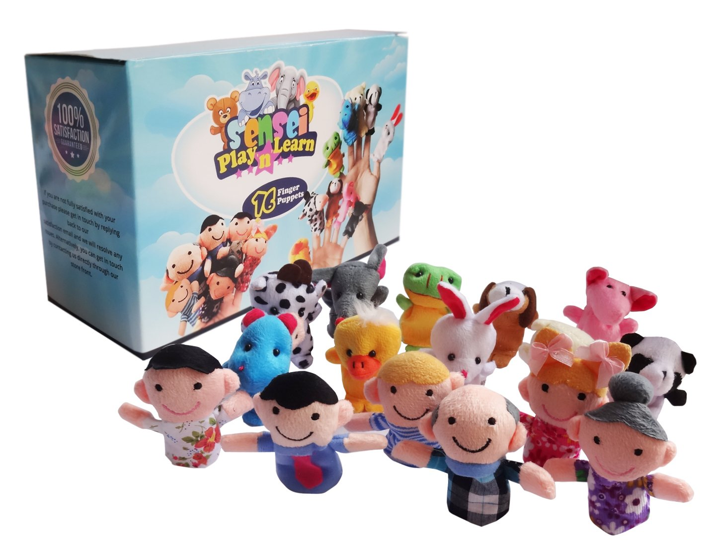 Sensei Play 'n' Learn Finger Family Puppets - People & Animals - 16 pcs - Finger Puppets Zoo Animals & Family Puppets For Kids, Babies, Toddlers & The Whole Family Senseitional Products