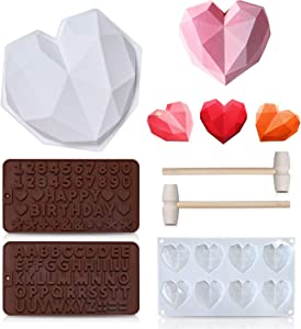 6 Pieces Diamond Heart Love Shape Cake Mold, Silicone Letter and Number Chocolate Molds with Wooden Hammers, Non-Sticky Dessert Cookie Mousse Mould for Home Kitchen DIY Baking Tools