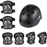 Yorbay Set di protezioni per skateboard e bicicletta, con casco, ginocchiere, polsiere e gomitiere (6 pz.), ideale per bambini, misura L, nero