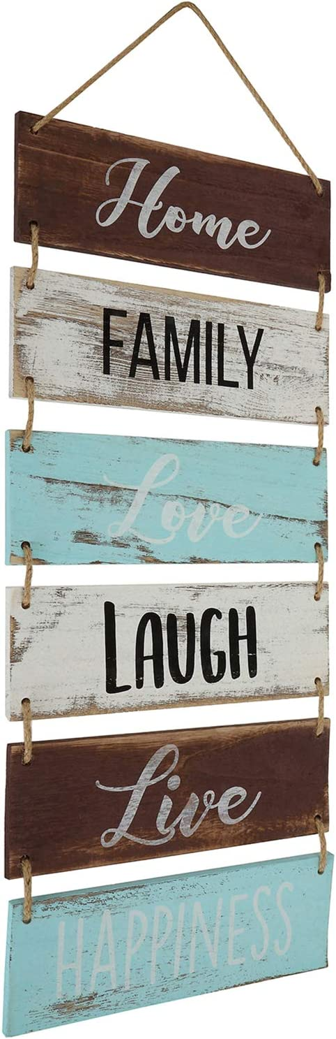 """Hedume Large Hanging Wall Rustic Wooden Decor (Home, Family, Love, Laugh, Live, Happiness) Country Style Vintage Wall Decoration Art for Modern Living Room, Bedroom and Kitchen (11.75"""" x 26"""")"""